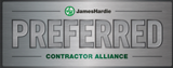 Badge confirming Precision Windows and doors is a member of the preferred contractor alliance of JamesHardie siding